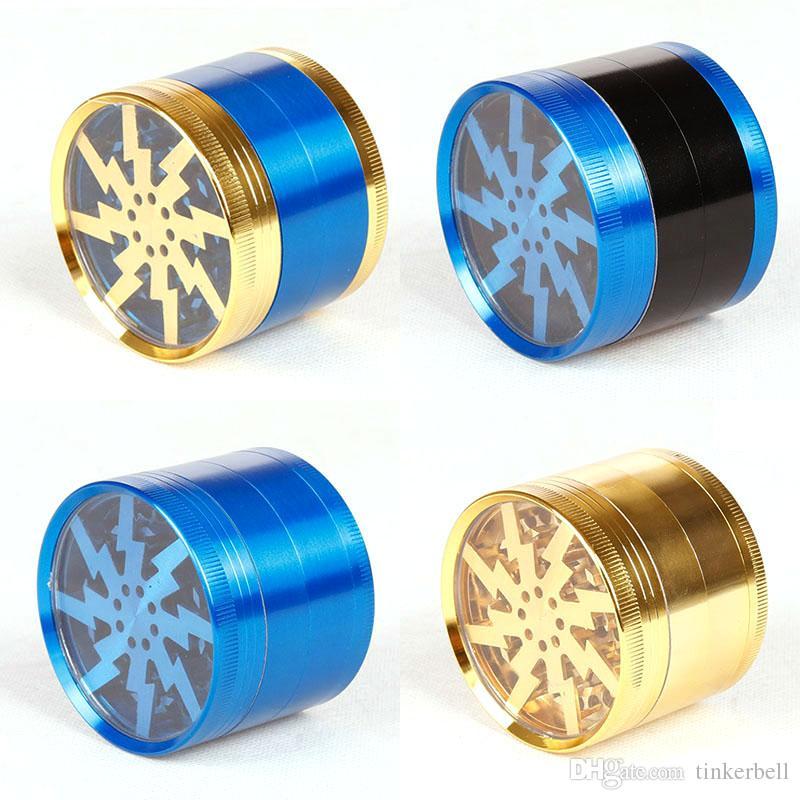 Neueste Veränderte Aktualisierte Lighting Grinder Herb Grinders Zinklegierung Crusher Grinders 63mm 4 Schichten Klar Top Fenster Beleuchtung Zahn