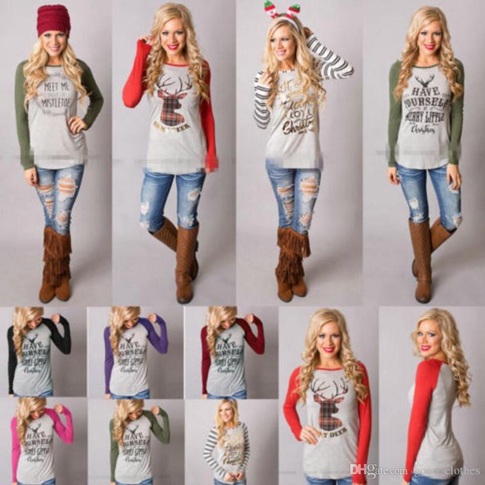 Camiseta de navidad de las mujeres de Navidad Elk Camisas de Papá Noel Tops Blusa de manga larga suelta Casual Tees Blusas 16 estilos 100 unids OOA3036