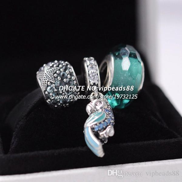 S925 стерлингового серебра Зеленый попугай кулон женщин комплект ювелирных изделий Fit европейский шарм браслет бусины ювелирных изделий