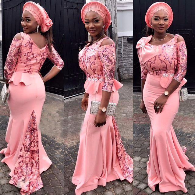 Pfirsichrosa ASO Ebi Abendkleider Scoop Halsausschnitt 3/4 lange Ärmel Prom Kleider mit Applique und Bow Peplum Custom Made FORMAL-Kleider