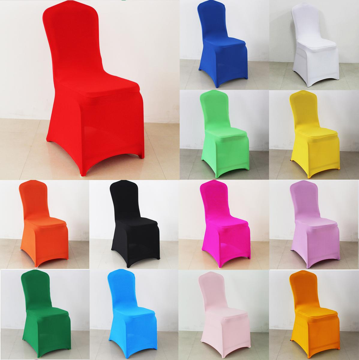 Free Shipping Wholesale 100pcs Universal Colorful Spandex/Polyester Wedding Chair Cover for Banquet Chair Hotel Decoration Party Supplies