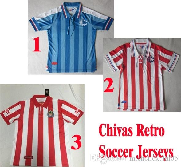 buy popular e968b d64b7 2019 2008 Chivas Retro Soccer Jerseys Top Thai Quality 100th Chivas Away  Blue Classic Football Shirts Adult'S Short Sleeve Vintange Sports Tops From  ...