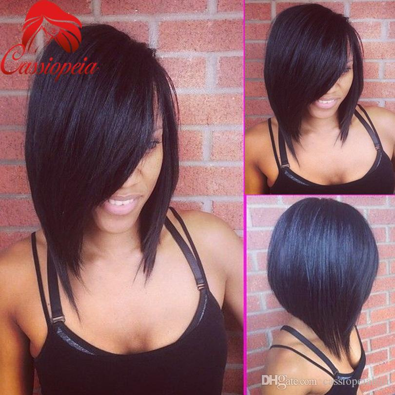 Indian Bob Wigs side Part Style Glueless Short Bob Human Hair Wigs with Baby Hair Full Lace Bob Wigs in Stock