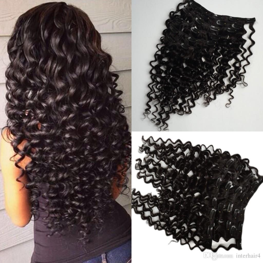 Peruvian virgin hair clip in Human hair extensions Hair wefts Deep Wave 6pcs/lot 8-24 inches Drop shipping