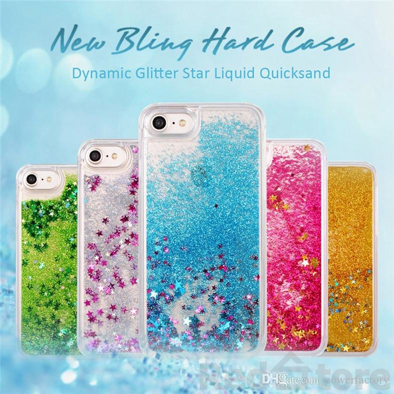 Liquid Glitter Stars Bling Custodia rigida trasparente per iPhone 7 6 6S Plus 5S Galaxy S7 S6 bordo Nota 5 cover posteriore