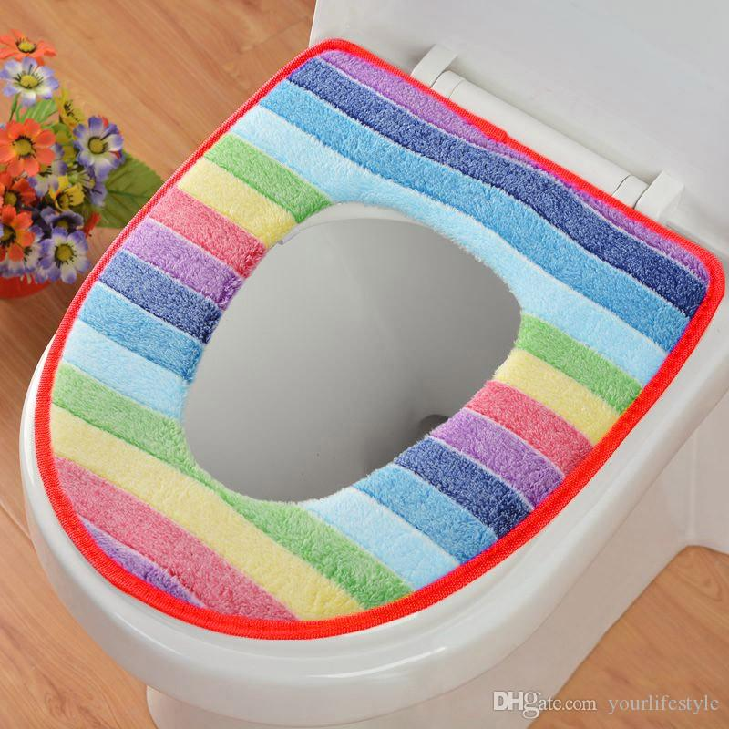 Toilet Seat Warmer Cover.2019 New Winter Toilet Seat Warmer Coral Fleece Thicken Carpet Toilet Seat Cover Soft Comfortable Baby Potty Seat Overcoat Toilet Mat From