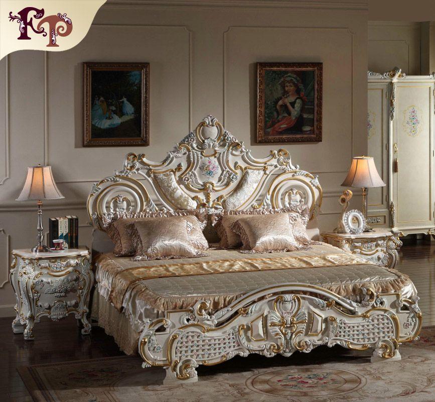 Muebles clásicos europeos de estilo rococó francés - Cama barroca dorada de madera maciza - Muebles de lujo italianos