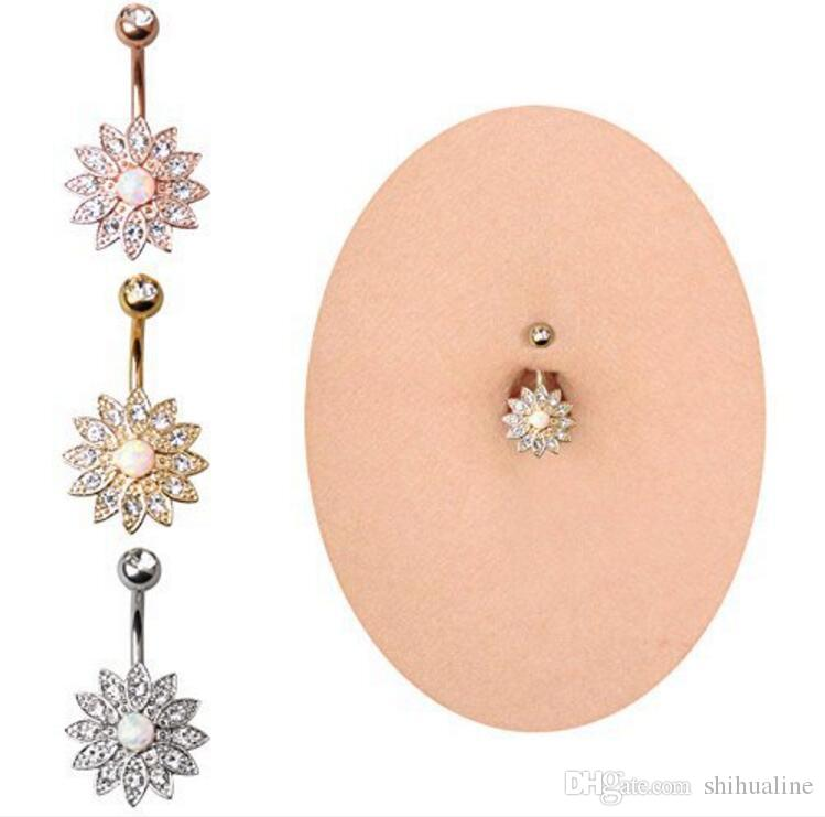 Haute qualité rose or nombril stud diamant pétales autrichien gem nombril anneau ponction
