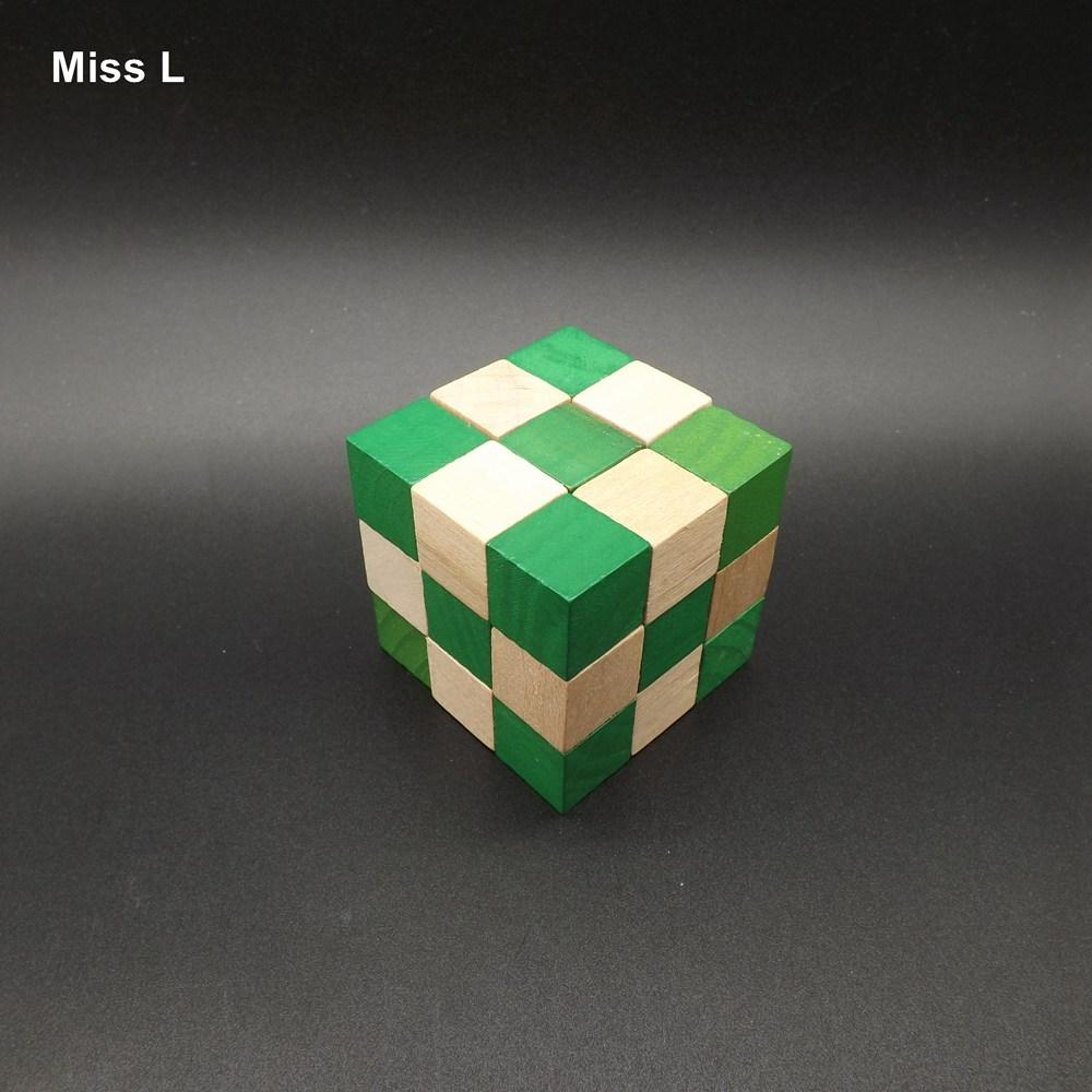 Kong ming Lu prohibición Cerradura de madera Puzzle Toy Cubo 3D Dragon Lock Bloques verdes Kid regalo