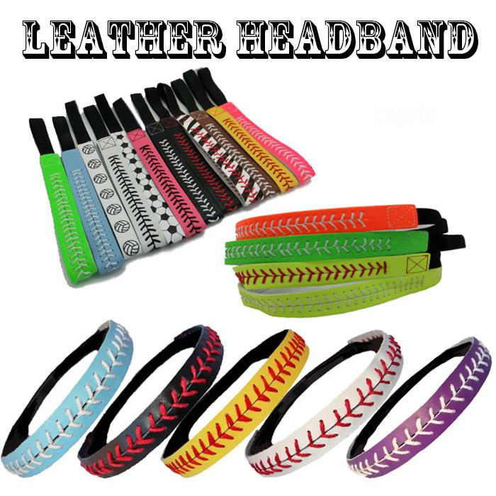 WHOLESALE 26 colors Seamed Stitching Real Leather Softball Sports Team Headband free shipping