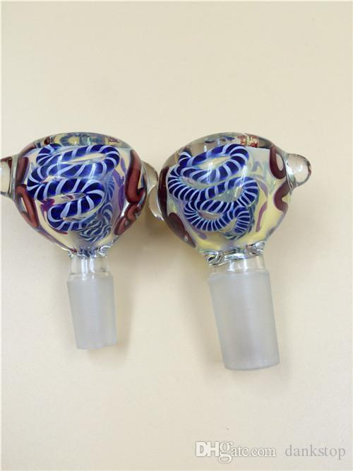 14mm & 18mm male glass bowl for glass water pipe glass bong hookah smoking accessory with colorful patterns