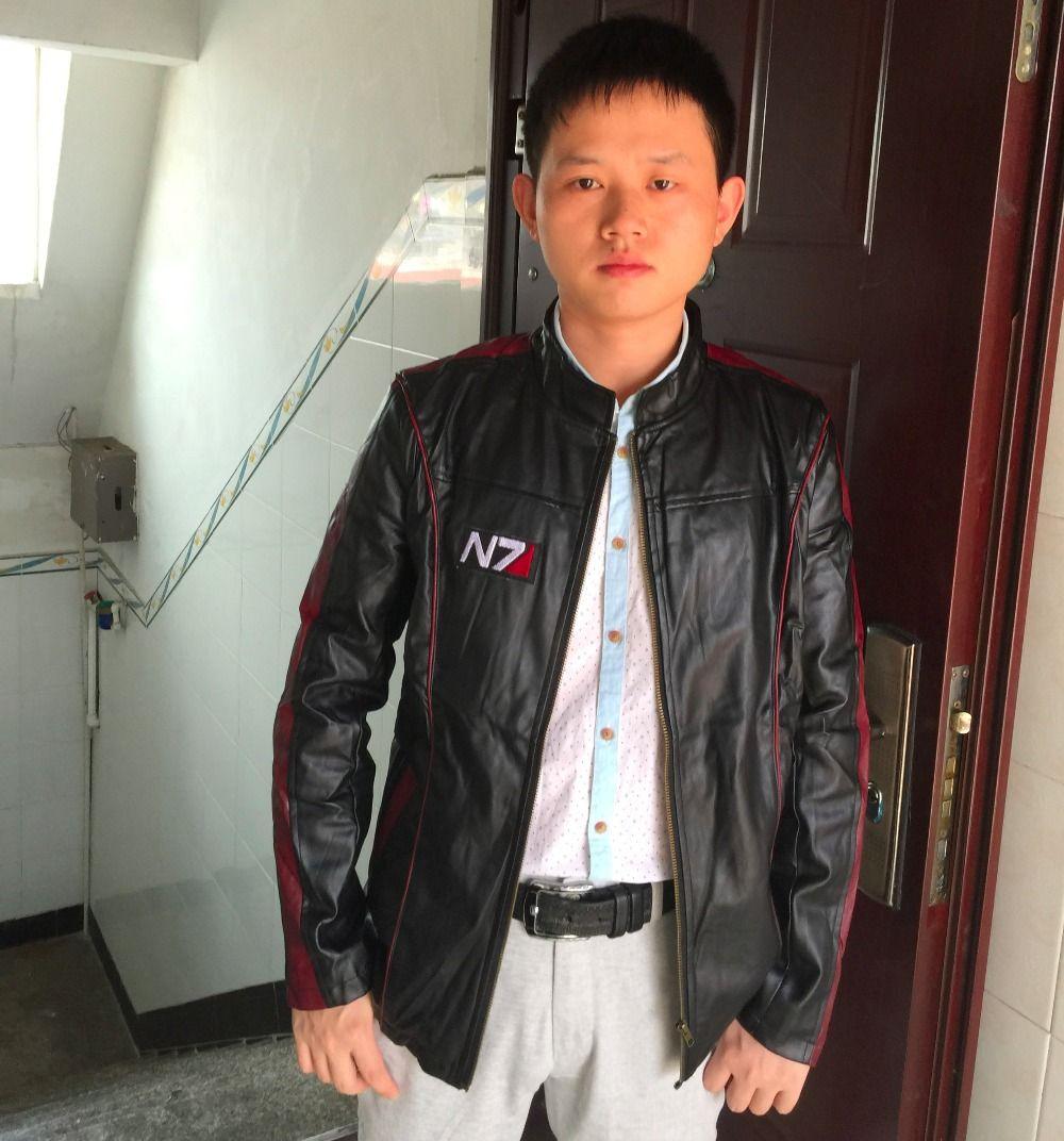 Autunno-gioco Mass Effect N7 mens giacche di pelle e cappotti Maschio giacca moto vestiti dei ragazzi del cappotto uomini costume cosplay Jaqueta De Couro