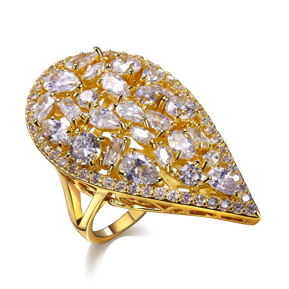 Nice Beautyful Ring! Big water drop shape Gold Plate Ring Pave setting Champagne cz Rings