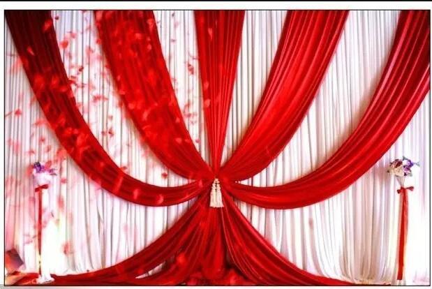 3m hohe x6m breite Hochzeitshintergründe mit Swags Event- und Partystoffen Schöne Hochzeitshintergründe inklusive mittelroter Vorhänge