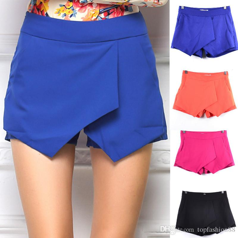 Sexy ocidental grande celebridade magro skorts shorts para as mulheres moda criss-cross cascata irregular shorts saias quentes shorts de verão