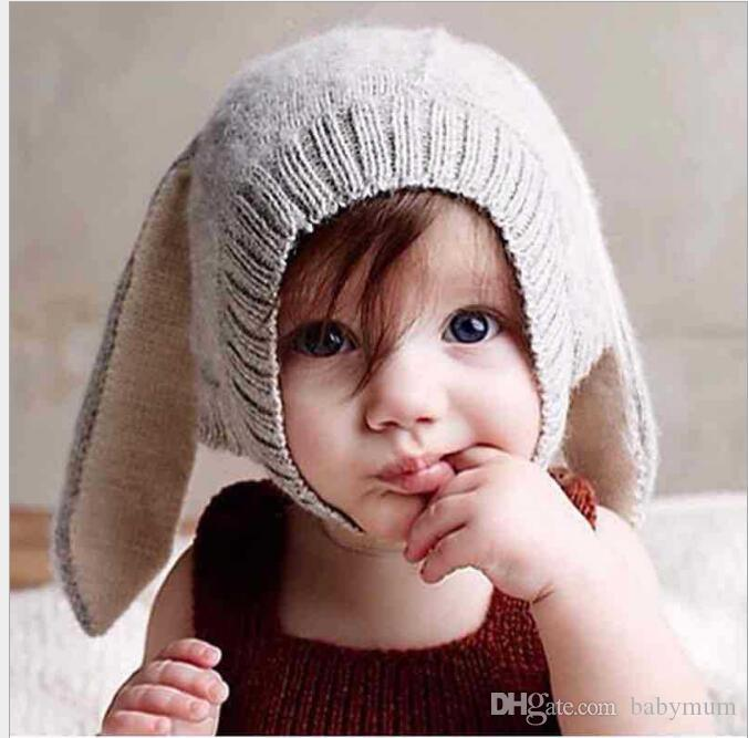 4 Color INS Autumn Winter Toddler Infant Knitted Baby crochet Hats Adorable Rabbit Long Ear Hat Baby Bunny Beanie Caps Photo Props