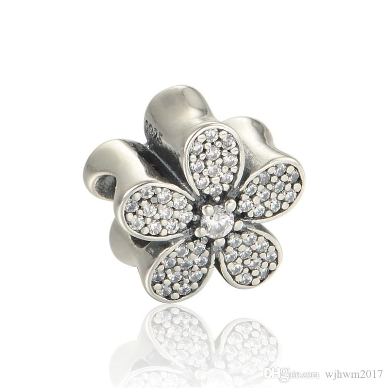 Micro Pave Clear Crystal Daisy Charms Beads Authentic 925 Sterling-Silver-Jewelry Flower Bead DIY Brand Bracelets Jewelry Making Accessories