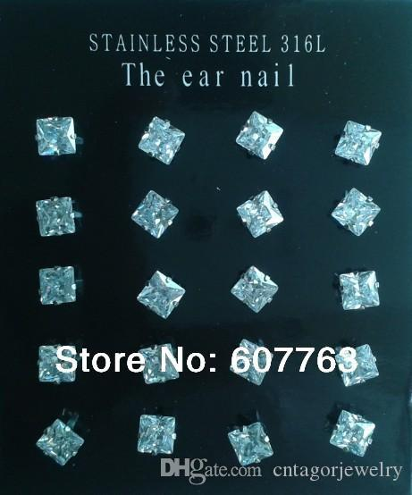 Оптовая 316L из нержавеющей стали 4 зубцы игристые 4 мм, 5 мм квадратный Shapped кубического циркония ясно CZ серьги (10paris / лот)