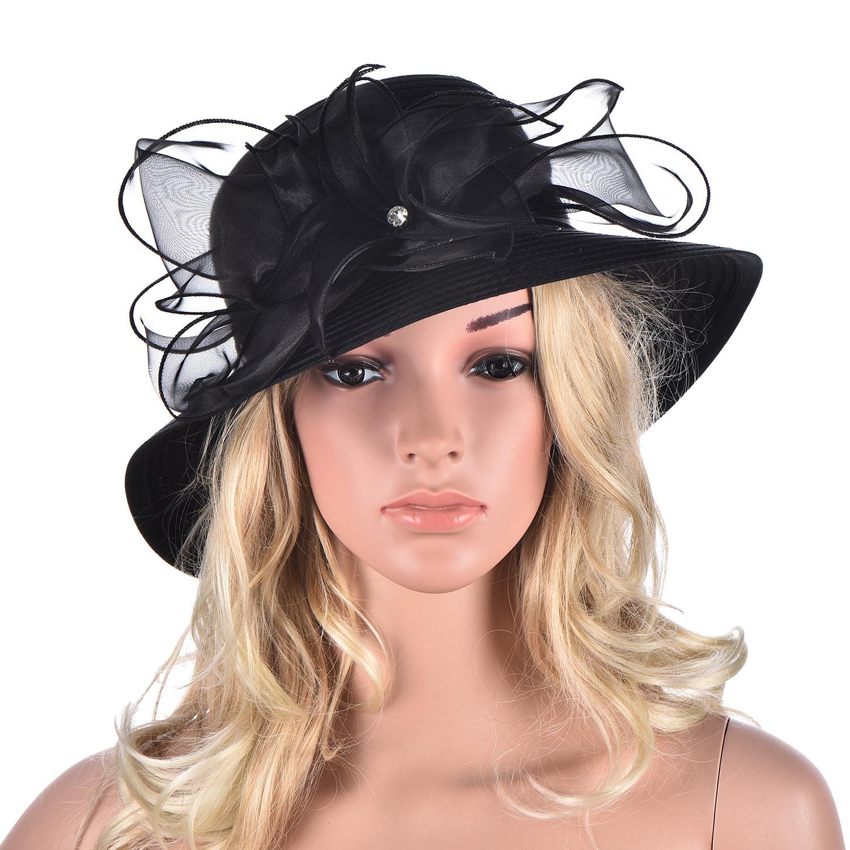 Femmes Tea Party Pur Couleur Kentucky Derby Élégant Floral Large Bord Église Robe De Mariage Chapeau De Soleil A323