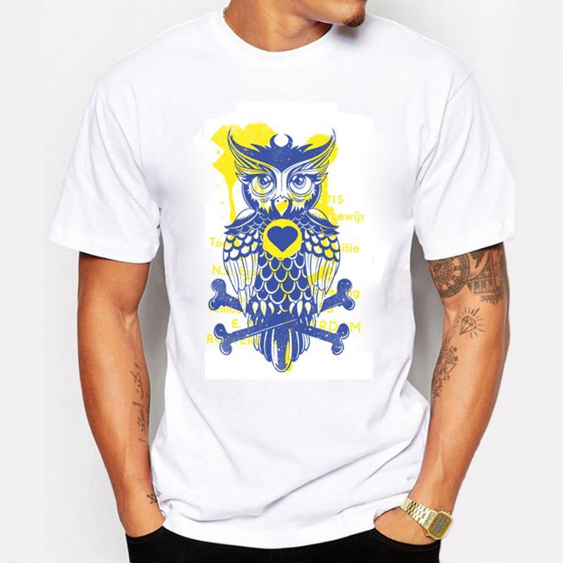 새로운 2016 남자 패션 반팔 나이트 워리어 올빼미 인쇄 T 셔츠 재미 티 셔츠 Hipster O 넥 남성 의류