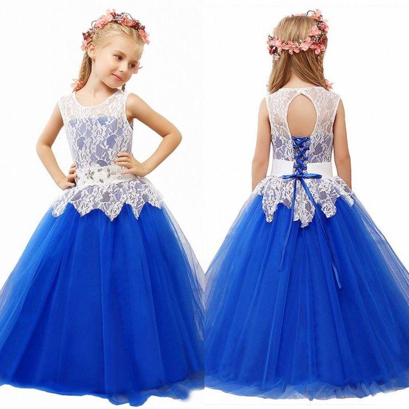 Abiti da ragazza di fiori vintage Abiti formali per bambini per matrimoni Una linea Blu royal Flowergirl Piano Lunghezza Abito Pizzo Top Cristalli Peplo