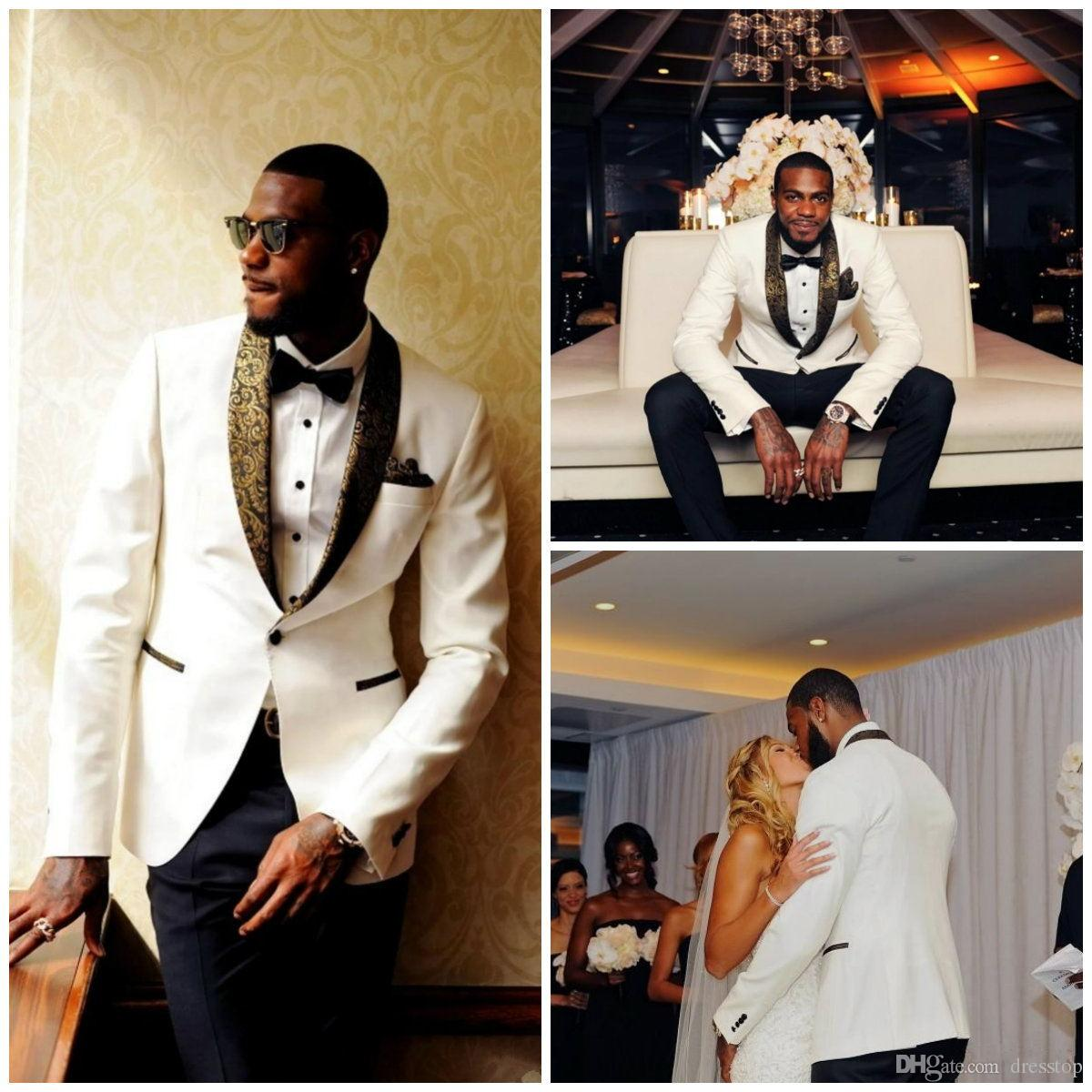 Handsome White Men Suits 2 Pieces Slim Fit Bridegroom Custom Order (jacket+pants)With Handkerchief And Bow Tie