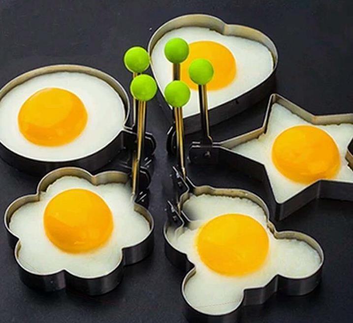 Edelstahl-Blumen-Stern-Herz-Kreis-förmige Spiegelei Gerät Ringe Kreis Omelette Pfannkuchen Thick-Zuckerfertigkeit-Kuchen-Form-Werkzeug Kochen