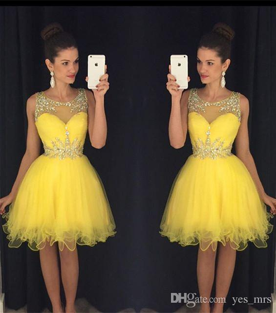 2016 Cheap Homecoming Dresses Jewel Neck Yellow Tulle Crystal Beaded A Line Short Party Prom Graduation Hollow Back Formal Cocktail Gowns