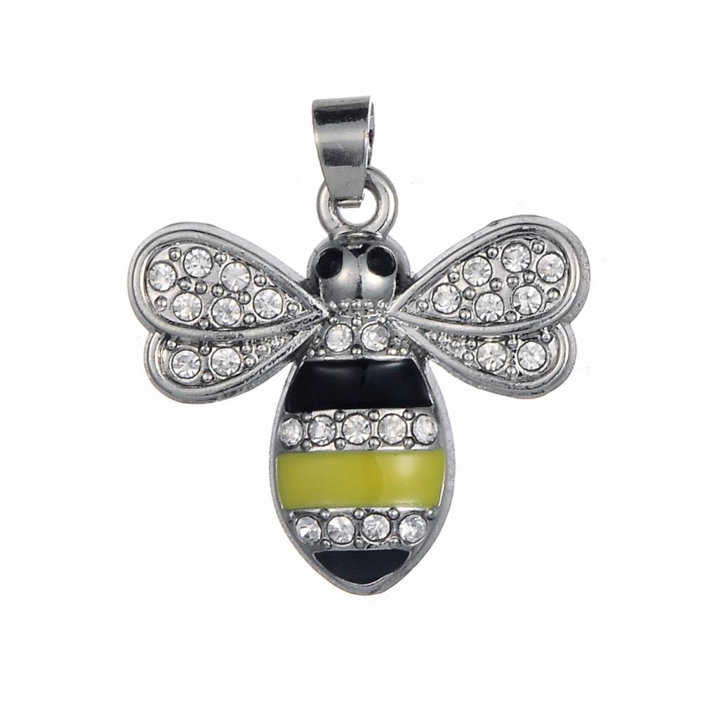 Nuevos encantos de abeja de cristal de esmalte y esmalte de aleación de zinc para hacer que la joyería sea fácil para ti