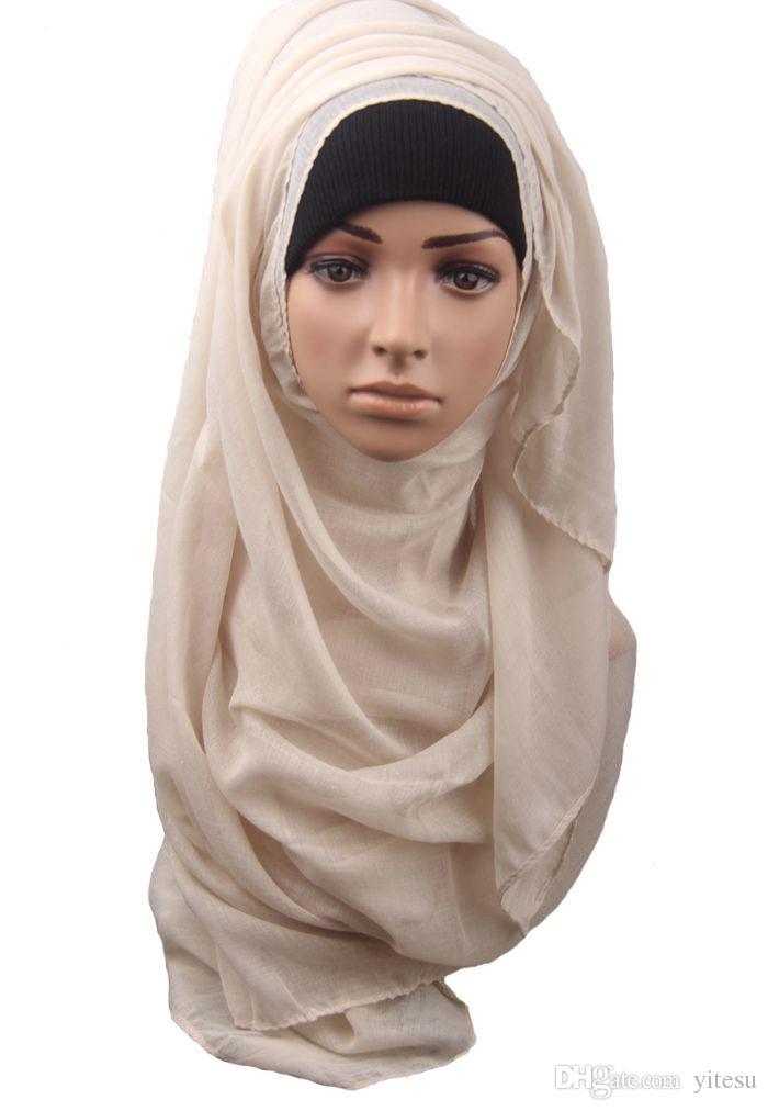 Free shipping Hot Adult Cotton Muslim Hijab The New Turban Jersey Baotou Wholesale Scarf Monochrome Widening High-grade