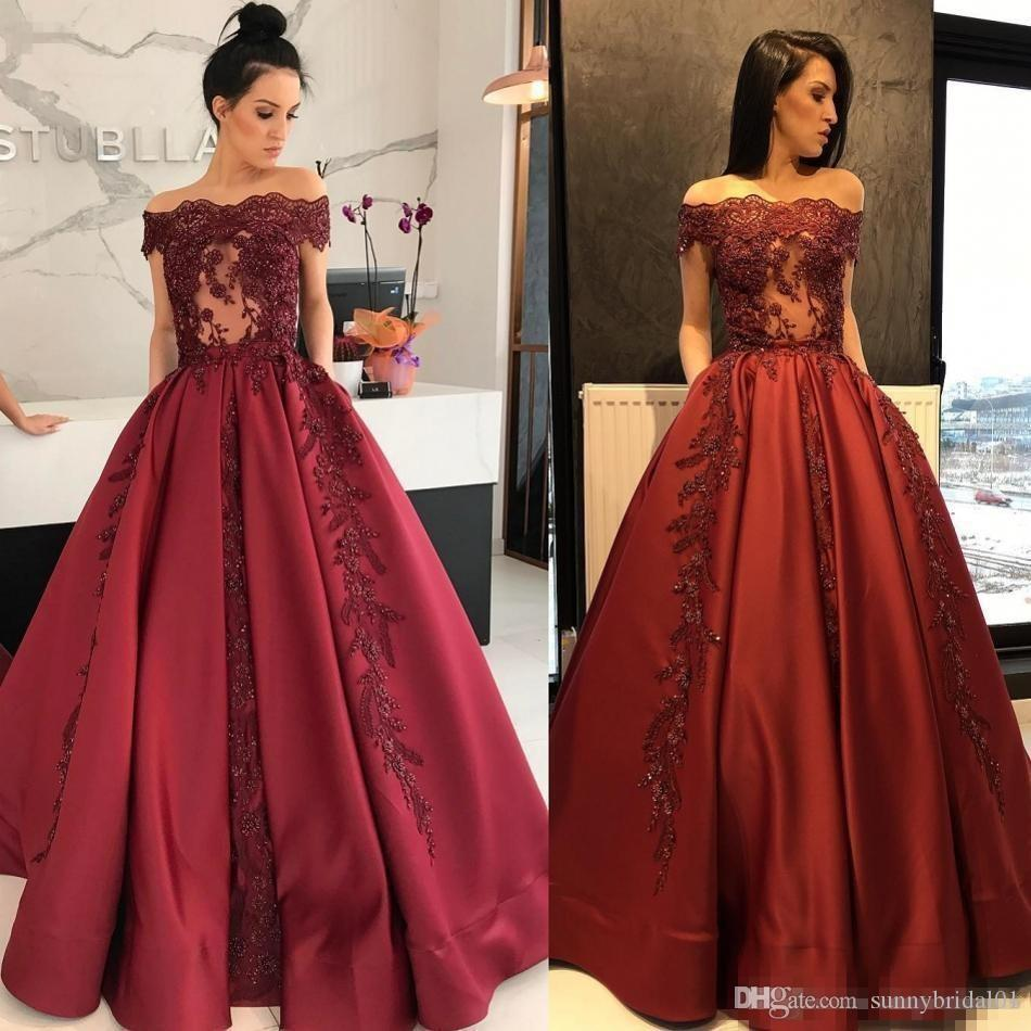 2018 New Arabic Evening Dresses Dark Red Boat Neck Lace A-Line Women Prom Dress With Pockets Illusion Bodice Formal Gowns For Party