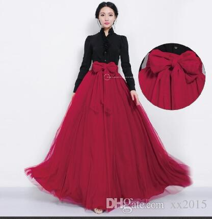 Wholesale-NEW Women Mesh Chiffon Pleated Princess Long Maxi Elastic Waist Skirt Gown
