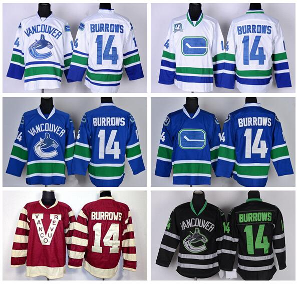 best service e0d47 b73ba 2019 Best 14 Alex Burrowsi Vancouver Canucks Jerseys Ice Hockey Team Color  Blue White Black Burgundy Maroon Red Fashion Sports Jerseys From ...