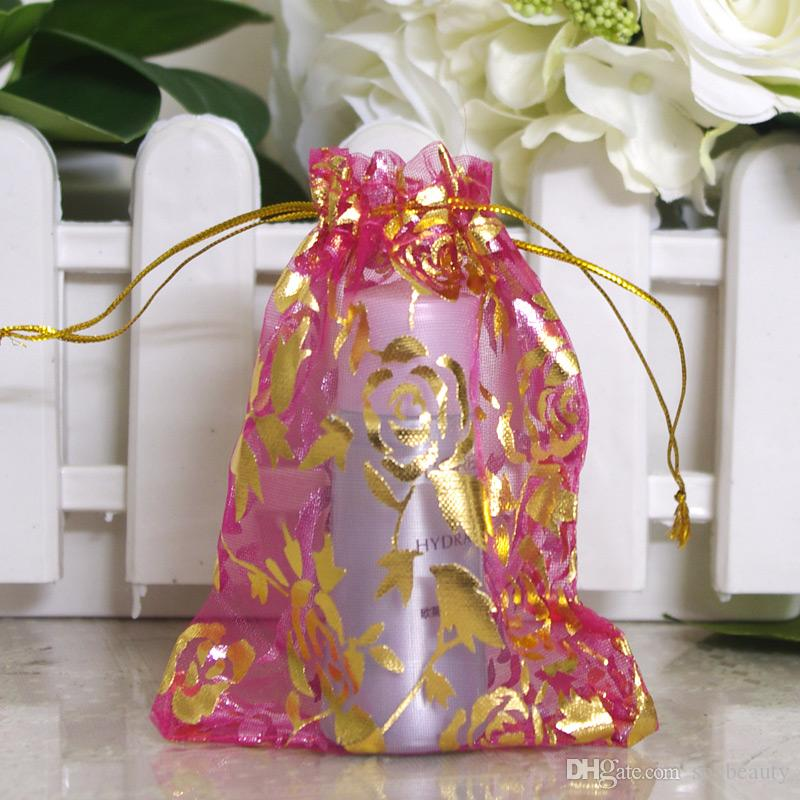 100pcs Gold Rose Organza Packing Bags Jewellery Pouches Wedding Favors Christmas Party Gift Bag 9 x 12 cm ( 3.6 x 4.7 inch)