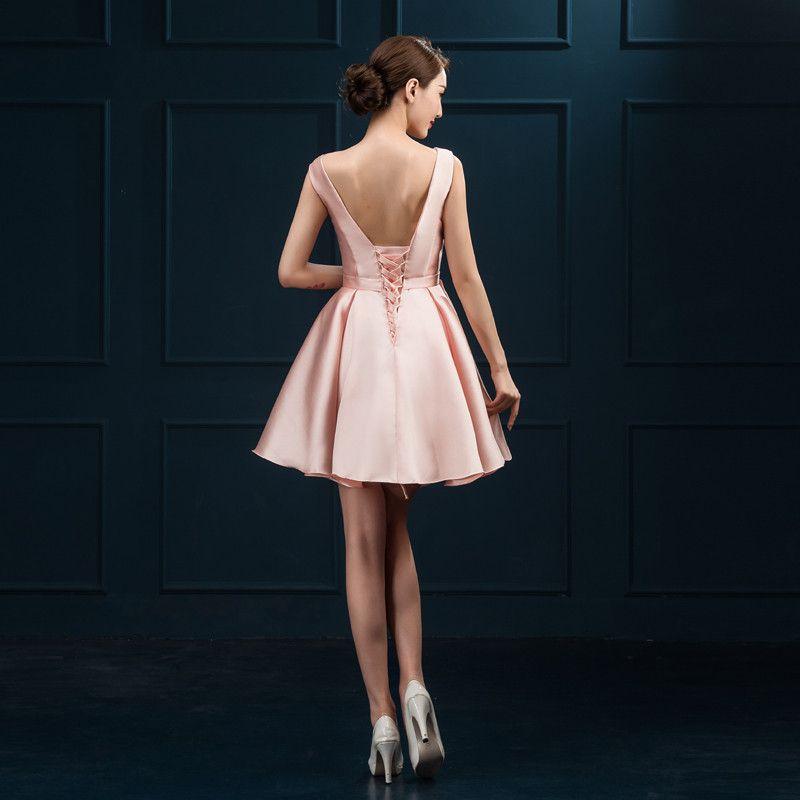 Compre Nuevos Vestidos De Noche Cortos Elegante Vestido De Novia De Cuello Alto Sexy Backless Bola De Raso Fiesta De Graduación Regreso A Casa