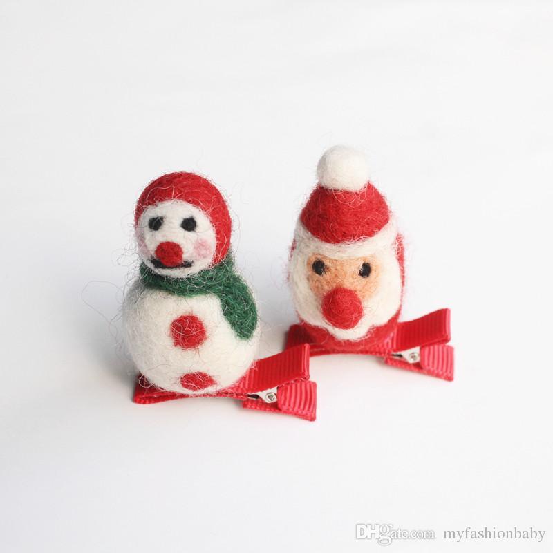 2017 Christmas Santa Claus baby Hair Clips Cartoon Red Glove Hairpin Snow Green Gloves Kid Handmade Girls Wool Hairpins Snowman 10pcs/lot