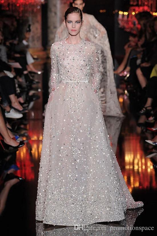 2016 Hot Sale O Neck Long Sleeve Prom Evening Dresses Elie Saab Gowns Beaded Rhinestones Pocket Long Celebrity Dresses