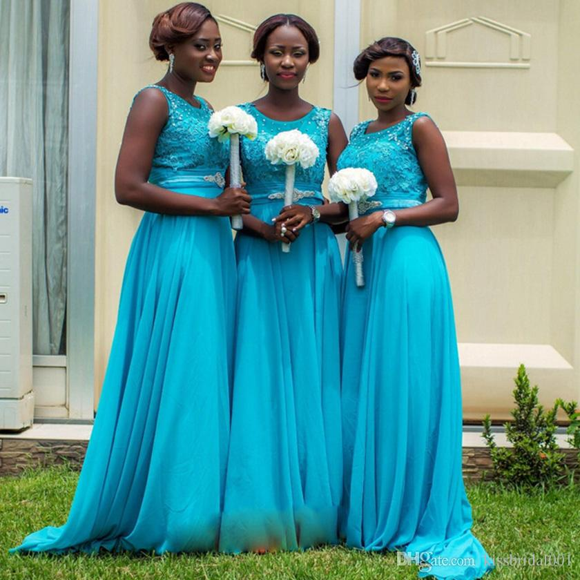 Arabic Cheap Lace Bridesmaid Dresses Beads A Line Jewel Neck Zip Back Sleeveless Floor Length Chiffon Blue Prom Gowns