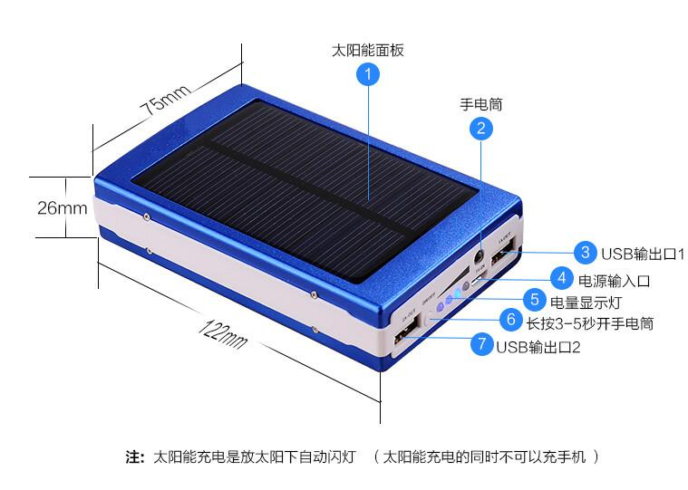 New 15000mah Waterproof solar power bank dual usb external battery solar charger powerbank for iphone samsung Xiaomi HTC