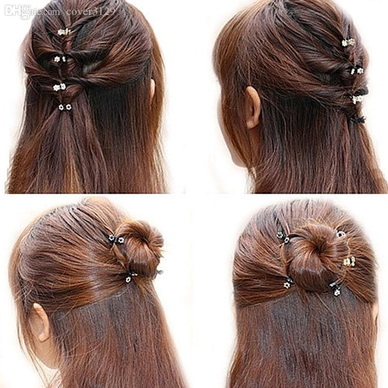 Wholesale-Susan '12 PC Kristall Blume Mini Klaue Clamp Haarspange Haarnadel NEUE Haarspange Haar Zubehör für Baby Girl Lady