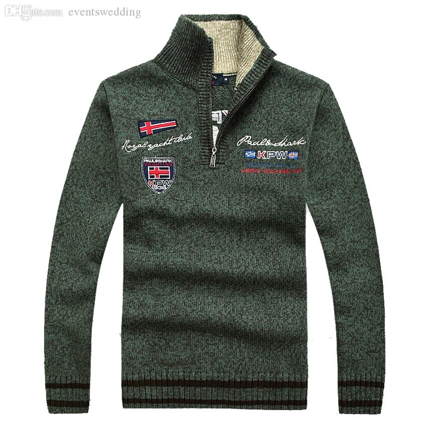 Wholesale-Men's collar zipper sweater Man Plus Size with thick warm pullovers autumn winter Fashion Letter embroidery Men Sweaters