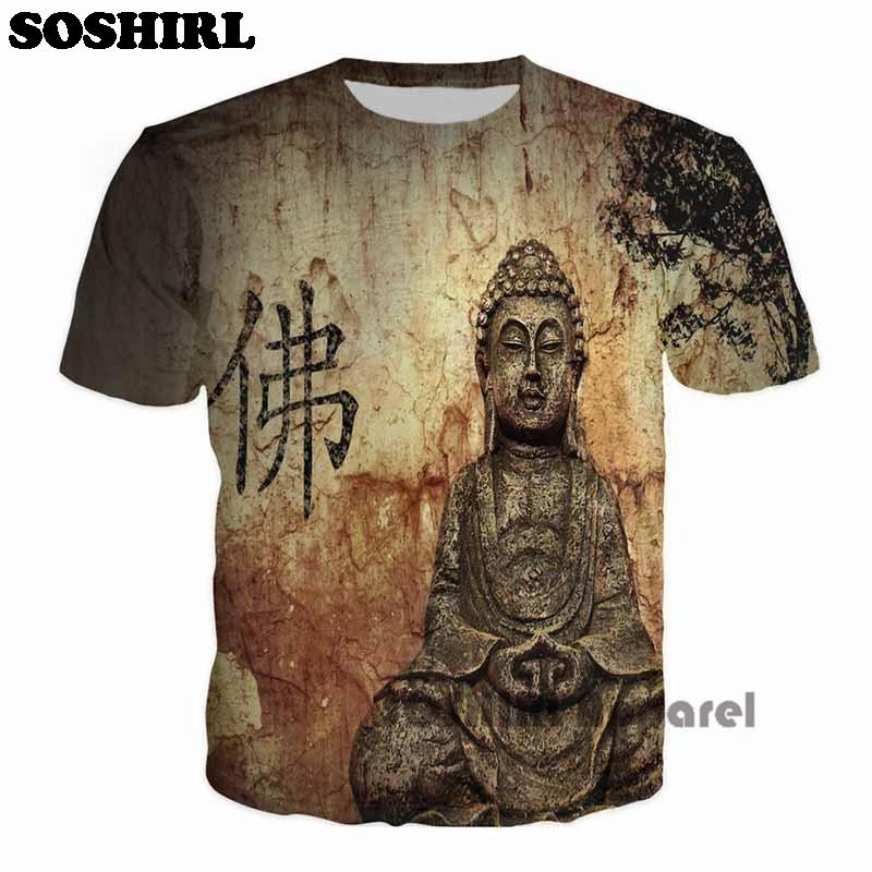 Gros-SOSHIRL Bouddha Full Print T Shirt Nouveauté Manches courtes Tee Tops Homme Punk Outfit Masculin Streetwear T-Shirt Homme Casual T Shirts