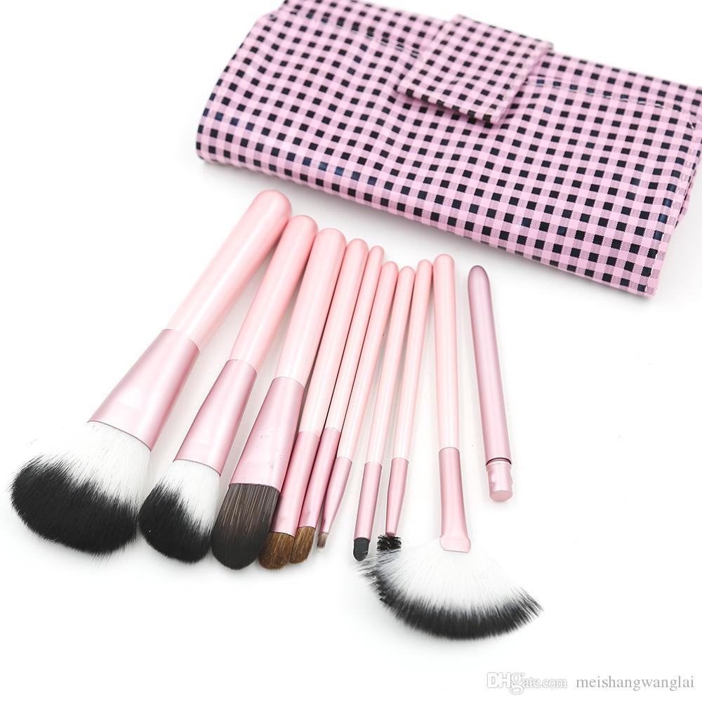 Pennelli trucco rosa Pennello trucco nylon Pennello cosmetico 13 set / lotto Kit pennello trucco per viso