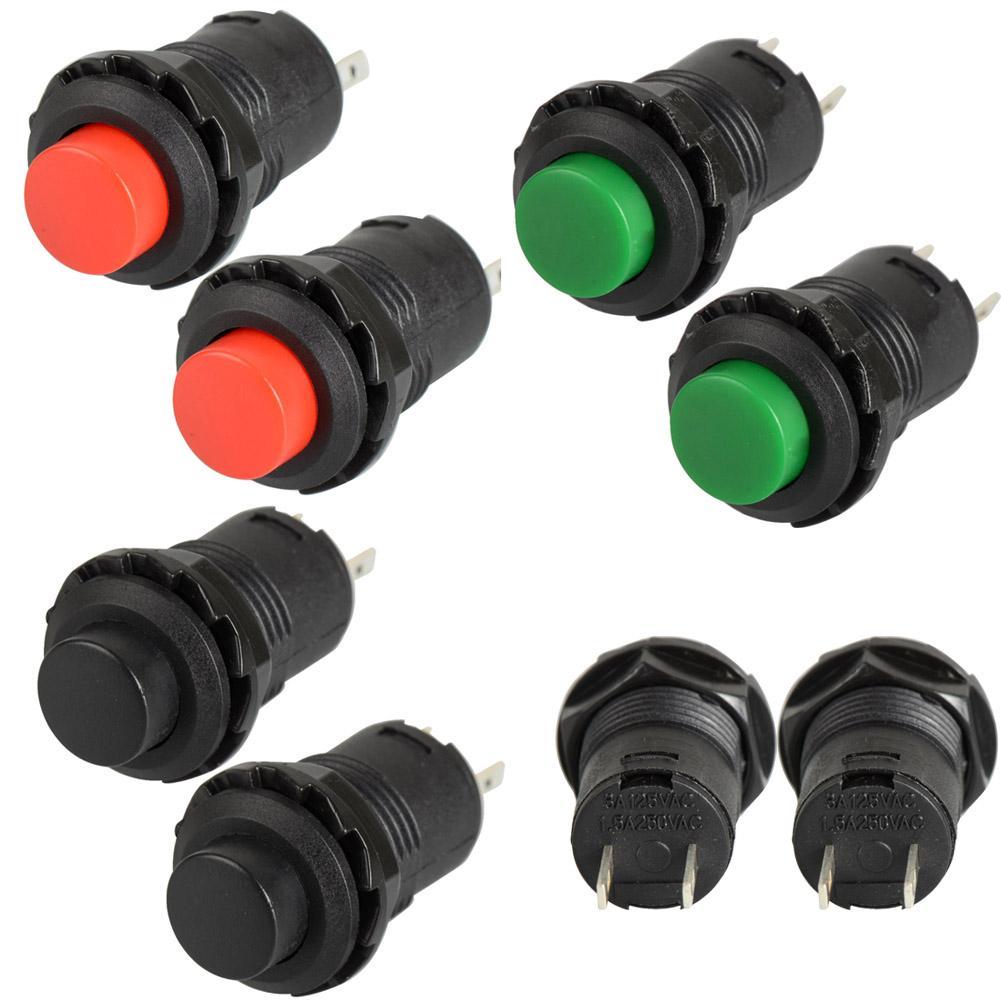 2Pcs / Lot Composants électroniques Interrupteur de réinitialisation de bouton Lockless Push OFF- ON Voiture / Bateau / Jouets Commutateurs 12mm B00056