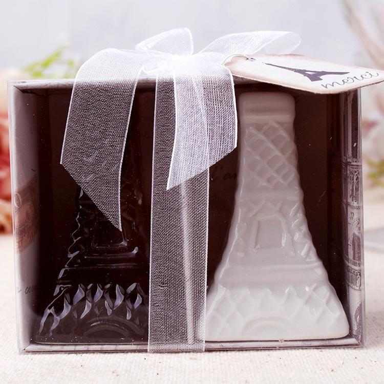 Eiffel Tower Ceramic Salt and Pepper Shakers Wedding Favors White Black Porcelain Shakers Cooking Tools 50sets=100pcs/lot