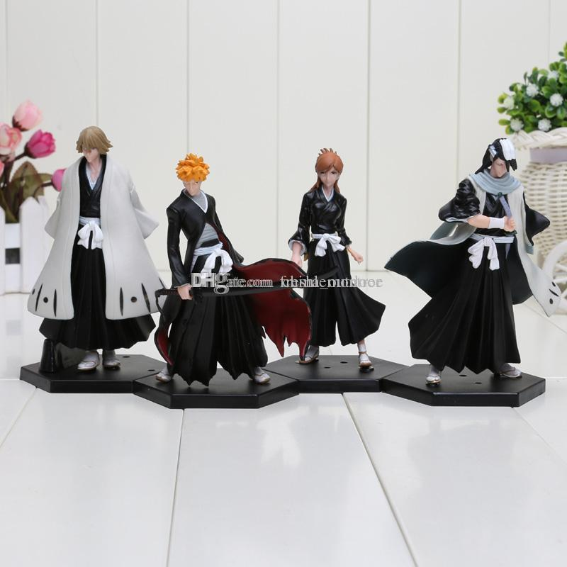 4pcs/set anime Bleach figure Kurosaki Ichigo Kuchiki Byakuya PVC Action Figure Model Toy Doll approx 15cm