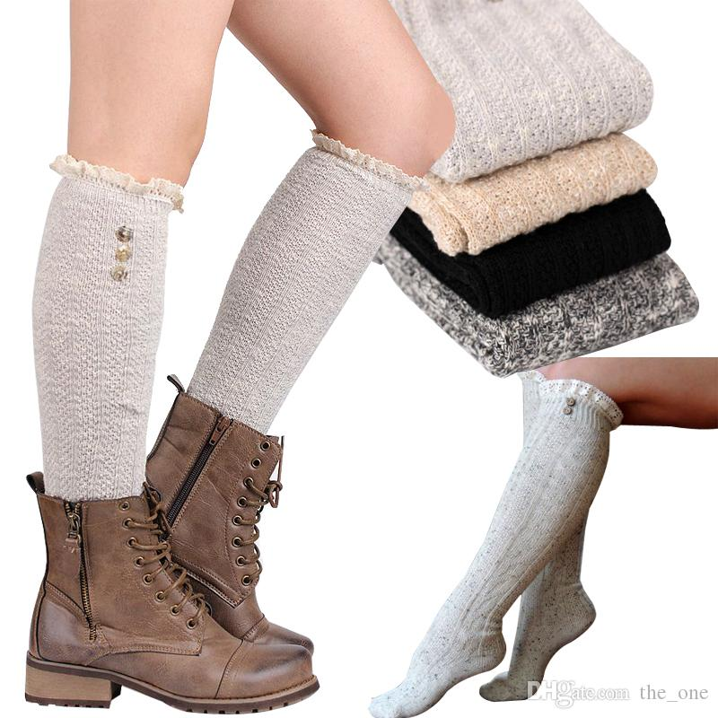 girls fashion lace knee high socks women girl knitting wool leggings leg warmer with button 3 colors available