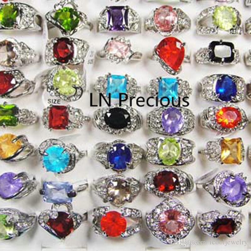 Мода классический посеребренные горный хрусталь цирконий кольца для женщин партии мода вся основная ювелирные изделия смешанные много LR111 Бесплатная доставка