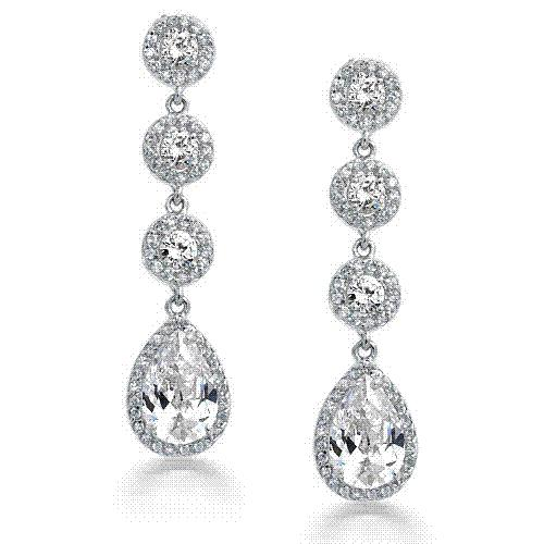 Vintage Silver Crown Set CZ Diamond Pave Teardrop Chandelier Earrings White Gold Plated Bridal Jewelry For Womens, Free Shipping