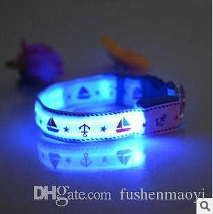 New PET Accessories LED Dog Cat collars Camouflage dog supplies Super bright LED flashing light 7 colors 4 sizes free shipping